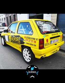 Lettrage voiture de rallye LEMESTRE / TOYOTA LUSSIS / KOLORZ